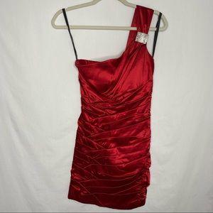 Bisou Bisou red cocktail one shoulder mini dress